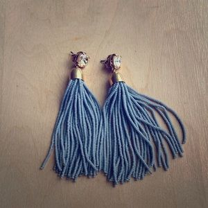 J Crew Beaded Tassel Earrings in Gray
